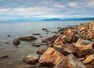 The shore of the Black Sea near Dzhankhot. Russia, Krasnodar Territory.